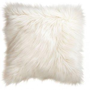 Huňatý kožušinový vankúš - biely