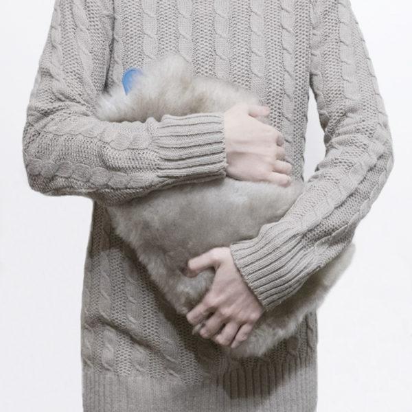 Kožušinový termofor / termofor z ovčej kožušiny - tmavý