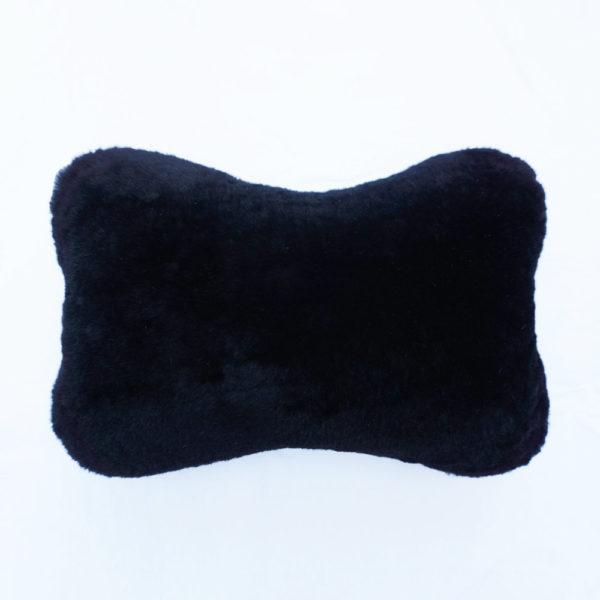 Kožušinový vankúšik do auta / opierka hlavy - čierny