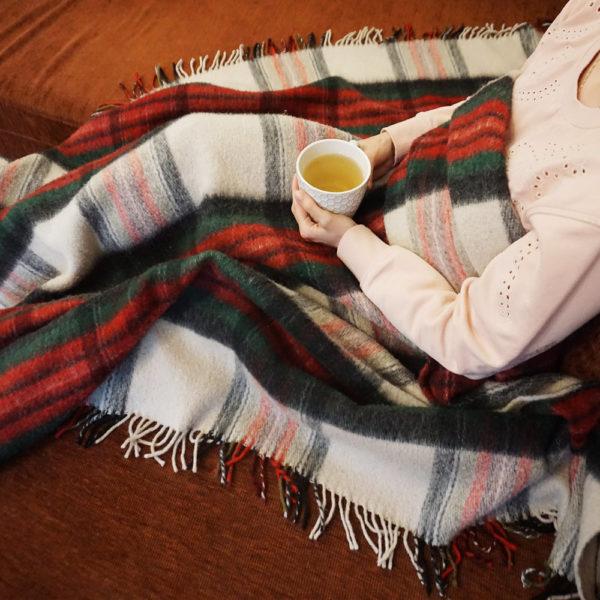 Vlnená deka - červeno/zelená